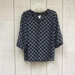 Old Navy black & white rope sheer blouse, S